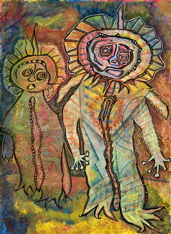 Two brothers who like fun.  An artistic cross-over between Picasso and Monsters Inc. by Dorothy Graden