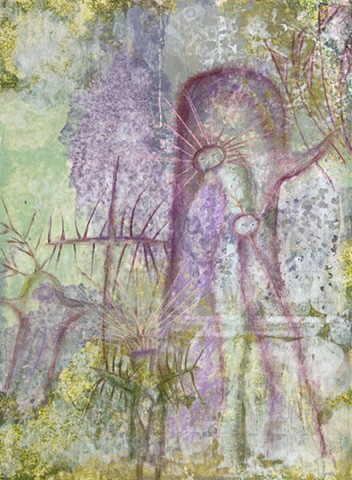 Ethereal Beings in Mist with tree, crucifix, holy images with flags by Dorothy Graden