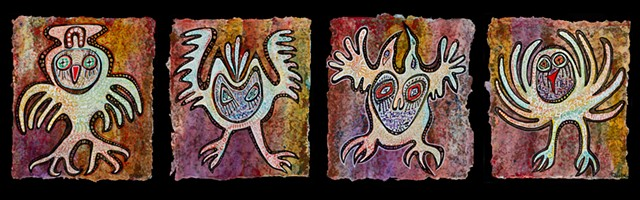 Set of 4 feathered owls