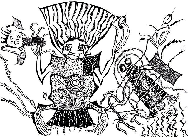 A Powerful Female Archetype with spirit guides, cave art, zentangle by Dorothy Graden