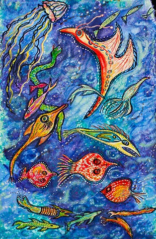 fantasy abstract fish in ocean current