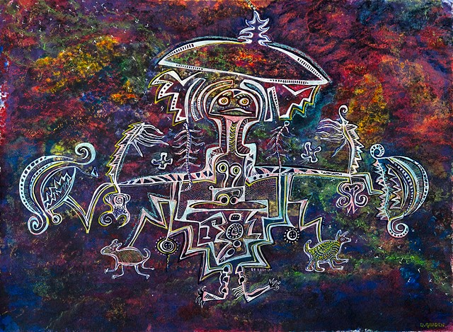 The Healer petroglyph.   by Dorothy Graden    Drawing of shamanic healer with  sacred artifacts by Dorothy Graden