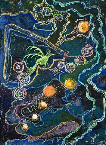 bird at night flies over the land and universe  by Dorothy Graden