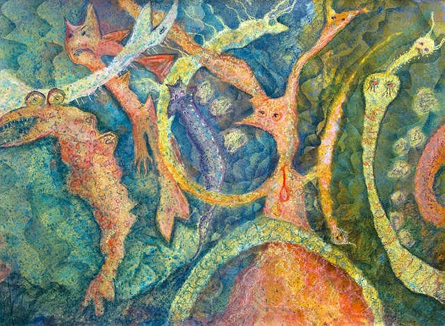 surreal ocean. coral, seahorses. sea snakes, cats   by Dorothy Graden