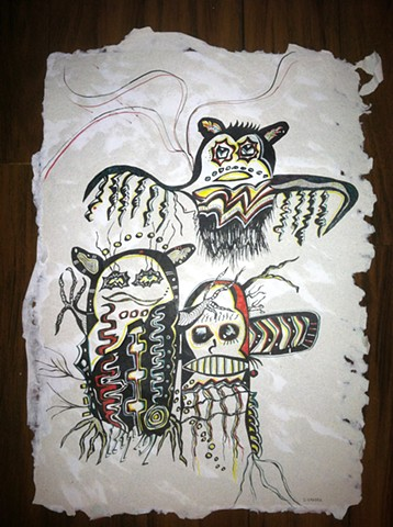 Three wise creatures birds and owls on hand made paper by Dorothy Graden