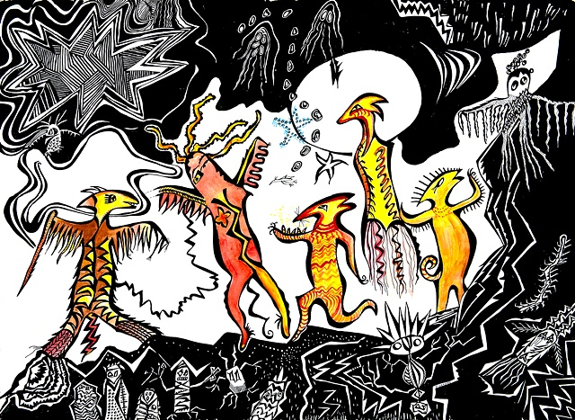 Five Shamans dancing .  Pen and ink drawing.stars,ghosts, birds, owls by Dorothy Graden