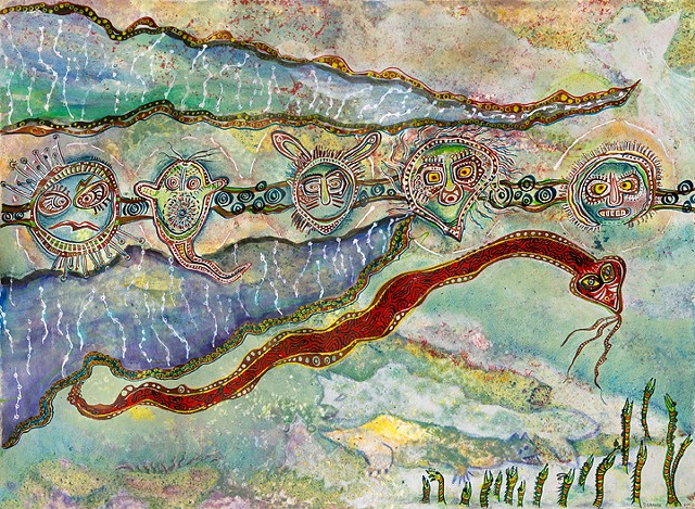 snake and mystical sea creatures on a landscape by Dorothy Graden