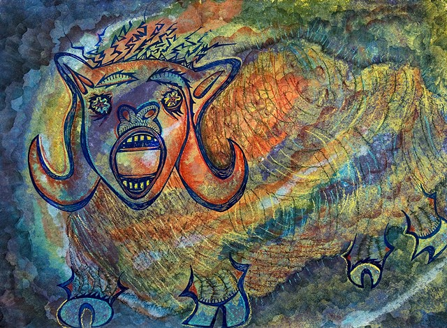 The female ram symbolizes self protection. pastel and ink by Dorothy Graden