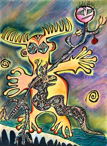 A Shamanic Journey. Ink drawing of Snake and moose like beings. fantastic, whimsical petroglyphs by Dorothy Graden