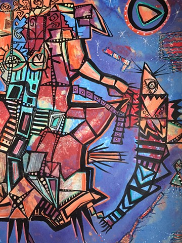 Futuristic Abstract Art. Robotic Cubist