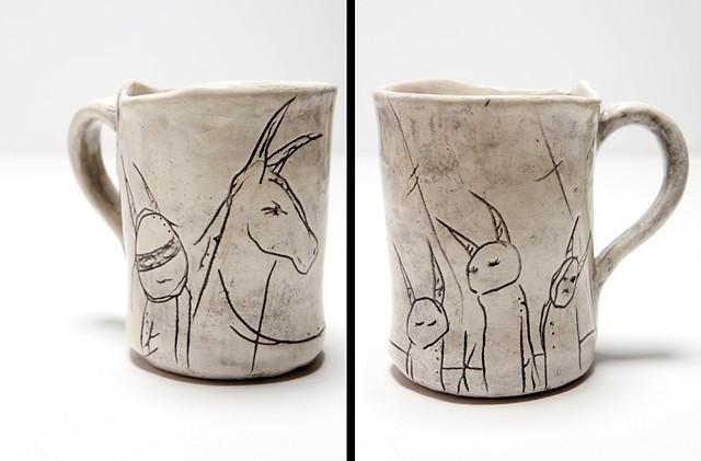 Mug with creatures