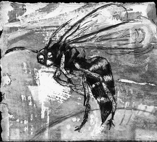 wasp stinger, hornet, insect art drawing