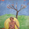 Naked Lady Seated under Bottle Tree