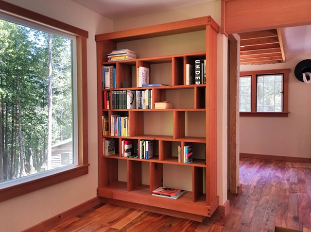 Redwood Bookcase with Wedged Pin Joinery
