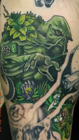 Picture Image Photo of Comic classic Swamp Thing Color Tattoo by Berol Landskroner of Copper Fox Tattoo Company
