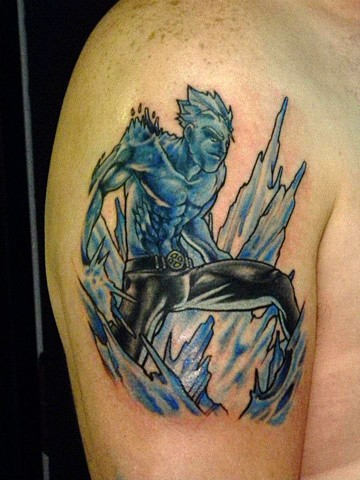 Marvel Comic Character Ice Man on upper arm in full color by Berol Landskroner of Copper Fox Tattoo Company