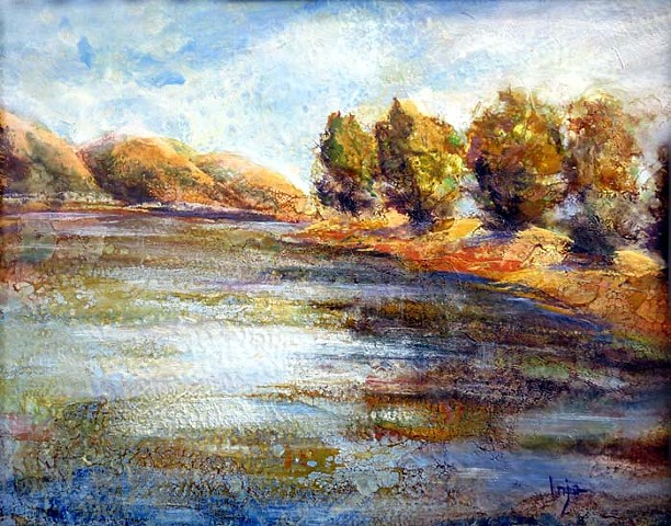 Encaustic and oil abstract landscape paintings