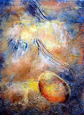 mixed media painting, oil, saw dust, abstract