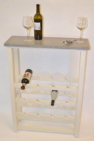 Handmade wooden wine rack with custom poured concrete top