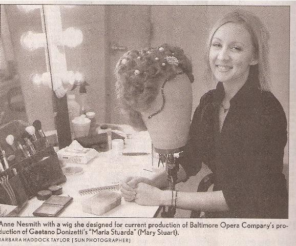 "Photo from Baltimore Sun article ""At Work: Operatic Wig Maker"""