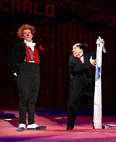 Tom Dougherty (left) - Clown appearing at the Monte Carlo Intenational Festival of Circus