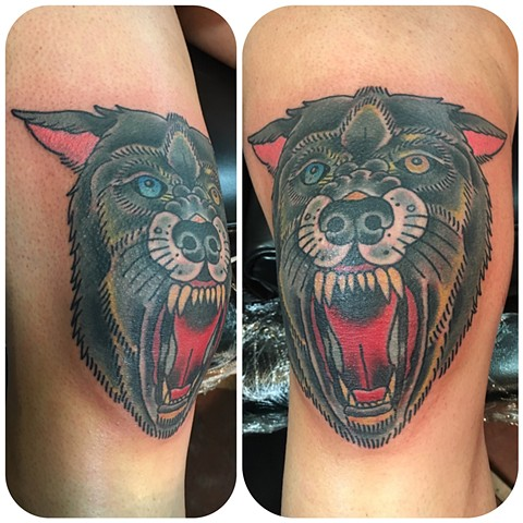 Traditional Wolf Head Knee Tattoo