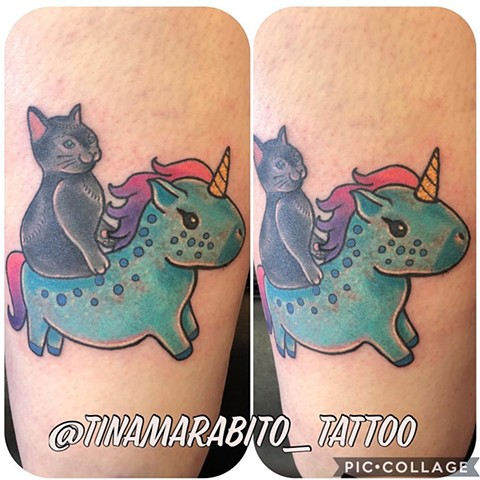 Neo Traditional Cat Riding Unicorn Tattoo