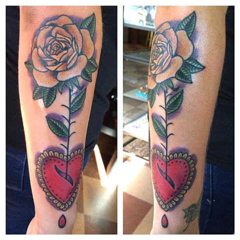 Yellow Rose and Valentine Heart Tattoo