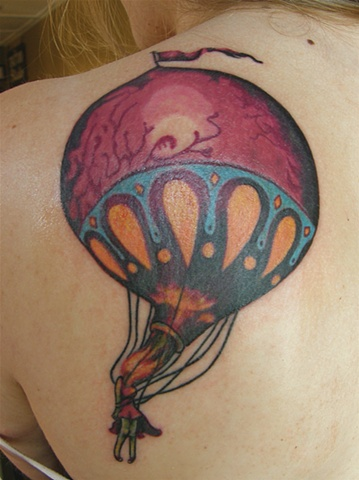 Tattoo Tina Marabito Circa Survive Album Art Hot Air Ballon with Flaming Head on Back Shoulder