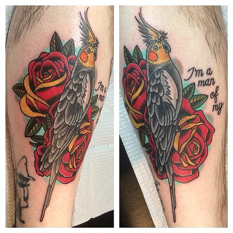 Cockatiel Crown of Thorns with Roses Tattoo