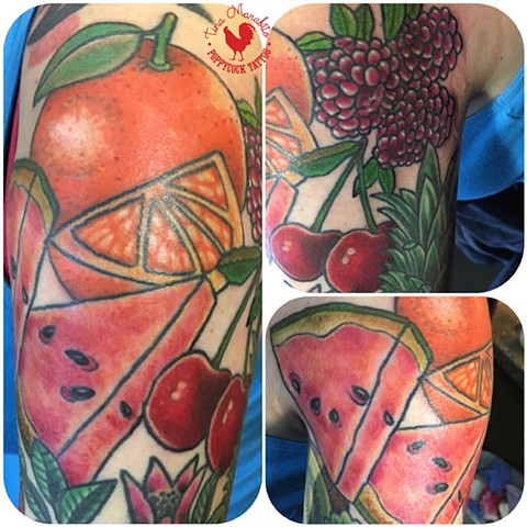 Fruit Tattoo Sleeve -in progress