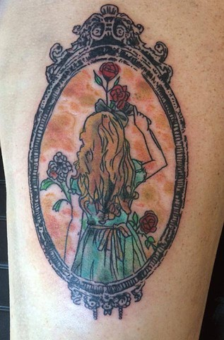 Alice in Wonderland Watercolor Tattoo on Thigh