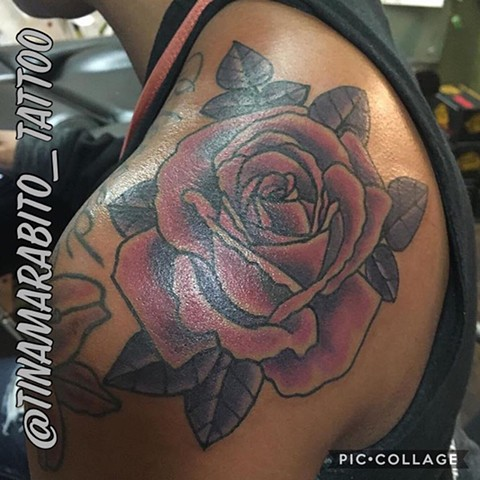 Traditional Purple Rose Cover-up Tattoo
