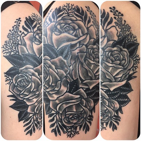 Traditional Black and Gray Rose Bouquet Tattoo