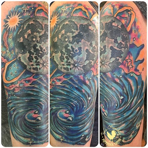 Neo Traditional Galaxy and Moon Tattoo