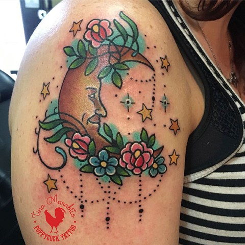 Traditional Floral Crescent Moon Tattoo