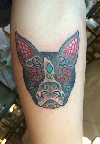 Dias de Los Muertos Boston Dog (Sugar Skull) Tattoo