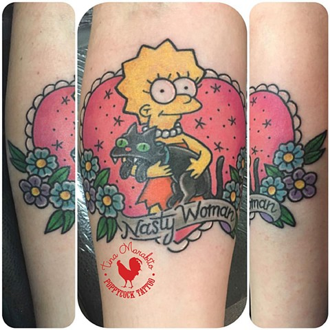 Traditional Nasty Women Lisa Simpson Tattoo