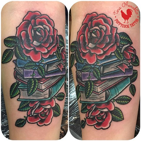 Traditional Rose and Books Cover-Up Tattoo
