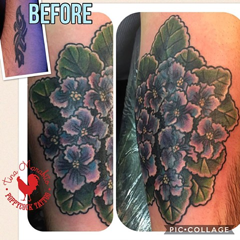 Traditional African Violets Tattoo Cover-Up