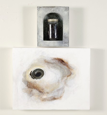 mixed media, painting, drain, hair in jar, lauren carter, art, acrylic, 2d, diptych
