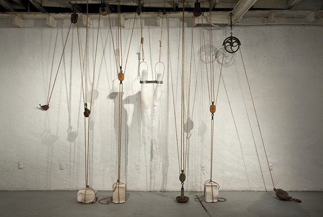 inversion, wax casts, legs, pulleys, lauren carter, art, artist, installations, sculpture