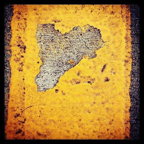 Yellow Pavement Heart, Museum of Fine Arts Parking Lot, Houston,TX, 2012