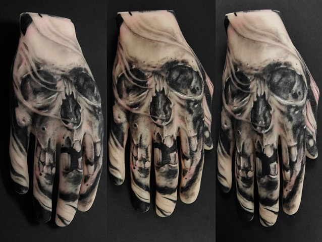 skull tattoo by Trent Valleau