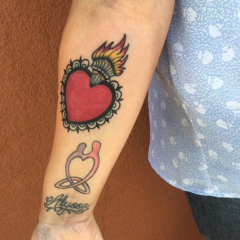 sacred heart traditional tattoo by Allie Valleau