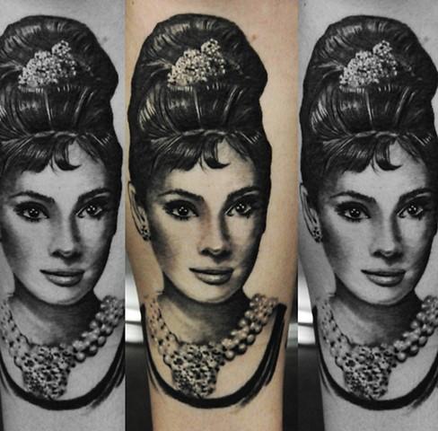 Audrey Hepburn portrait by Trent Valeau