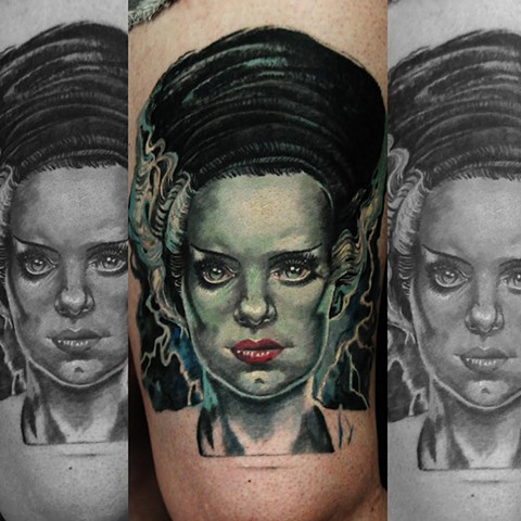 Bride of Frankenstein tattoo by Trent Valleau