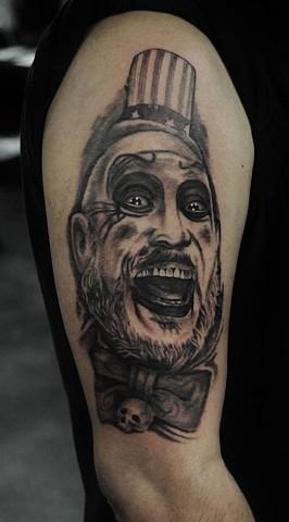 Captain spaulding portrait tattoo by Trent Valleau