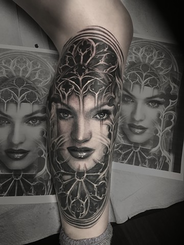 gothic windows, pretty lady face morph tattoo by Trent Valleau.