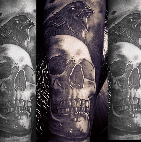 black and grey skull and raven tattoo by Trent Valleau
